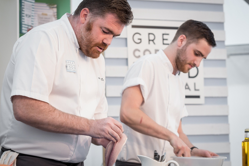 Nathan Outlaw and Outlaw's chef Tim Barnes